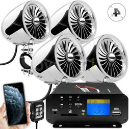 1000W Motorcycle Bluetooth 4 Speakers Stereo Audio System AT