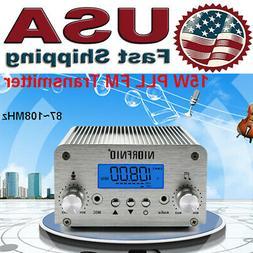 15W PLL FM Transmitter Wireless Radio Broadcast Station Ante