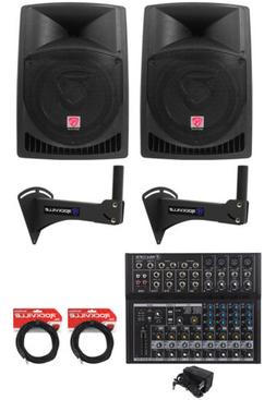 """2) Rockville RPG12 12"""" Powered 800w Speakers+Wall Mounts For"""