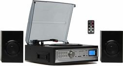 3 Speed Stereo Record Player System with Speakers Turntable