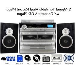 3-Speed Vinyl Turntable CD Player Dual Home Stereo System Bl