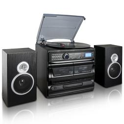 3-Speed Vinyl Turntable Home Stereo System CD Player Dual Ca
