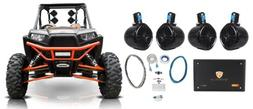 "4) Rockville 8"" 300w Rollcage Tower Speakers+4-Ch Amplifier"