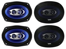 "4) New Pyle PL6984BL 6x9"" 800 Watts 4-Way Car Coaxial Speake"