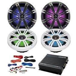 4 x Kicker 43KM654LCW 6.5 Inch KM-Series LED Marine Speakers