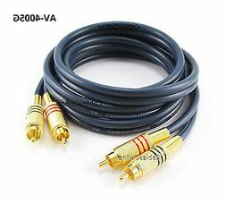 5ft 2-RCA to 2-RCA Gold-Plated Male to Male DJ/Mixer/Stereo