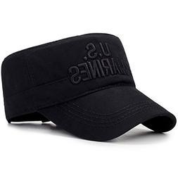ChezAbbey Flat Top Cadet Caps Adjustable Military Flat Top H