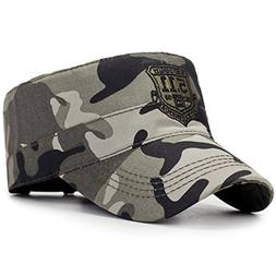 ChezAbbey Unisex Solid Brim Flat Top Cadet Caps Adjustable S
