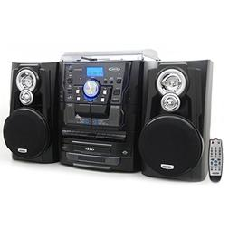 Jensen Bluetooth 3-Speed Stereo Turntable and 3 CD Changer w