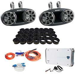 "Kicker 41KMT674 6.75"" Marine Wakeboard Speakers+Tweeters+4 C"