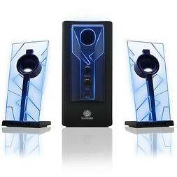 GOgroove BassPULSE Computer Speaker System with Green LED Gl