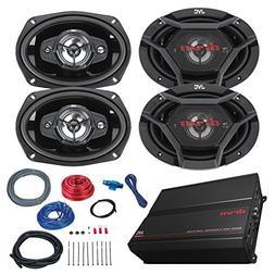 "Car Amp And Speaker Combo: 2x JVC DR6940 6x9"" Inch 550-Watt"