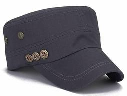 ChezAbbey Solid Brim Flat Top Cap Army Cadet Classical Style