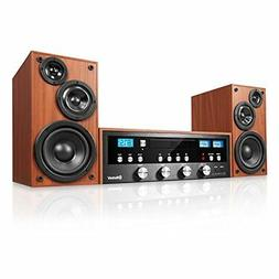 Classic Retro Cd Stereo Speakers System Bluetooth Mp3 Fm Rad