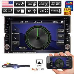 Double 2 Din Car In Dash Stereo GPS Navigation System Blueto
