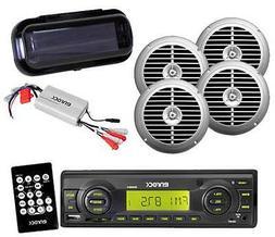 EKMRB11 New Outdoor Radio USB AUX Input w/4 Silver Speakers