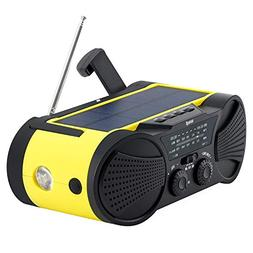 Emergency Weather Radio 4000mAh - Portable, Solar Powered, H