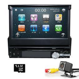 HIZPO Flip Out Car Radio 1DIN Stereo CD DVD MP5 GPS Navigati