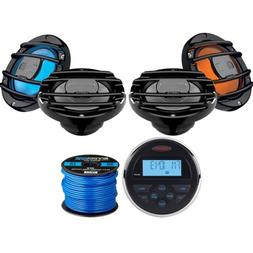 "Jensen Bluetooth Stereo, 4 x 6.5"" Marine Speakers w/ LED , S"