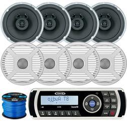 """Jensen Bluetooth Stereo, 4 x Marine 6.5"""" Speakers, 4 x Grill"""