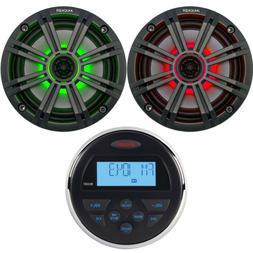 "Jensen MS30BTR Bluetooth Stereo, 2x 6.5"" 195W Marine 2-Way C"