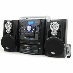 Jensen JMC1250 Bluetooth 3-Speed Stereo Turntable and 3 CD C