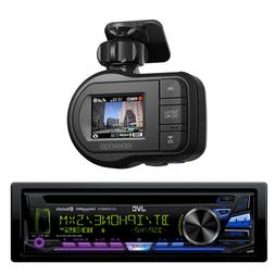 JVC 1-DIN Stereo with Bluetooth W/ Kenwood Dash Camera & Cra