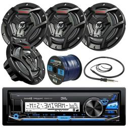 "JVC Bluetooth USB Marine Boat Radio, JVC 6.5"" Speakers, 50FT"