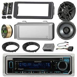 Kenwood KMRD372BT Marine Radio Stereo Receiver Bundle, 2x Ki