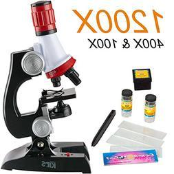 AmScope 100X-1200X LED Kids Beginner Microscope Toy Set + Sl