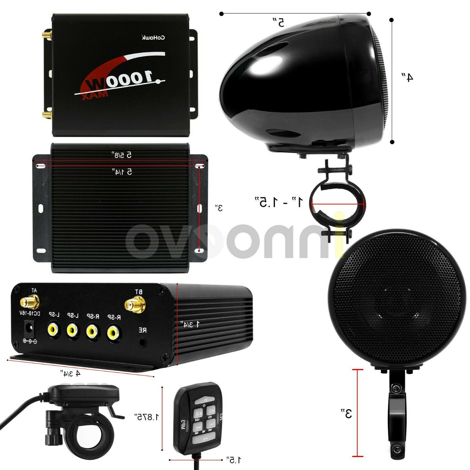 1000W Amp Waterproof ATV UTV Stereo Speakers Audio