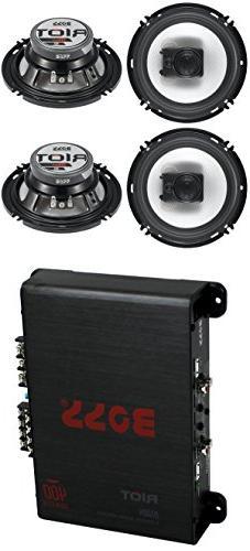 """4) Boss R63 6.5"""" 300W 3 Way Coaxial Speakers +R1004 400W 4 C"""