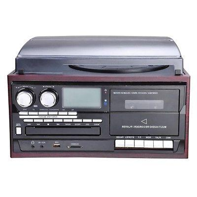 Wireless Stereo System Speakers Turntable AM/FM