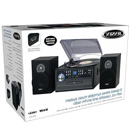 Jensen Retro 3-Speed Music System Edition JTA475G with Player , AM/FM Cassette input, Headphone