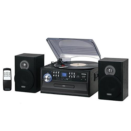 Jensen Retro 3-Speed Turntable Music Entertainment System Li