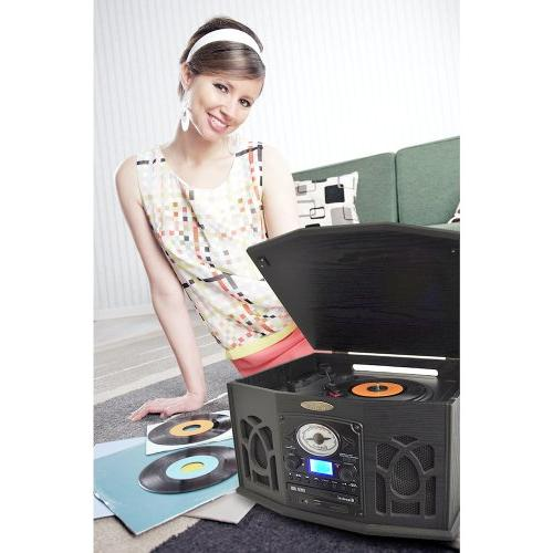 Pyle Vintage Retro Stereo With CD SD Speakers - to MP3 LCD