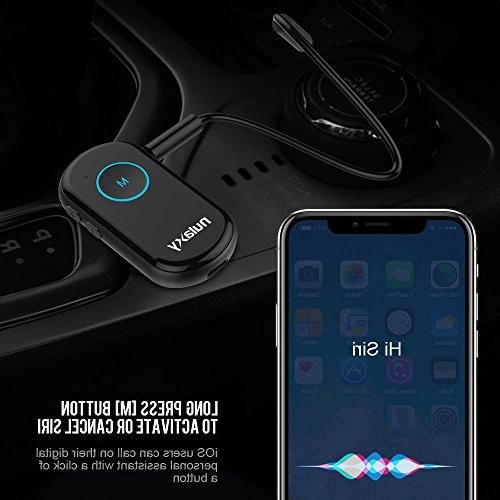 Car Kit Adapter Stereo Headphones Speaker Up to Bluetooth 4.1, CSR, Hands Free Call, CVC Noise Canceling, Black
