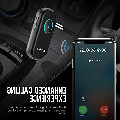 Nulaxy BR01 Receiver Car Aux Adapter Car Home Stereo Headphones Up 60' Bluetooth Hands Call, Noise