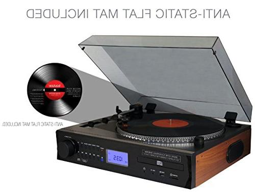 Boytone Automatic Turntable 2.1 Multimedia Tone Arm, Adjustable Counterweight & Cassette, CD SD