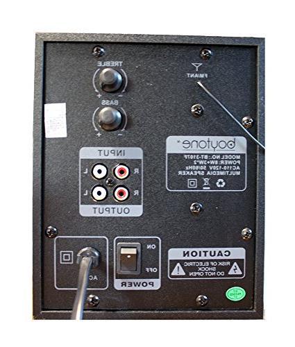 boytone BT-3107F 2.1 System - 14 RMS - - Black Hz - 20 kHz - SD, MultiMediaCard microSD USB - FM MP3 Audio Stream, Display