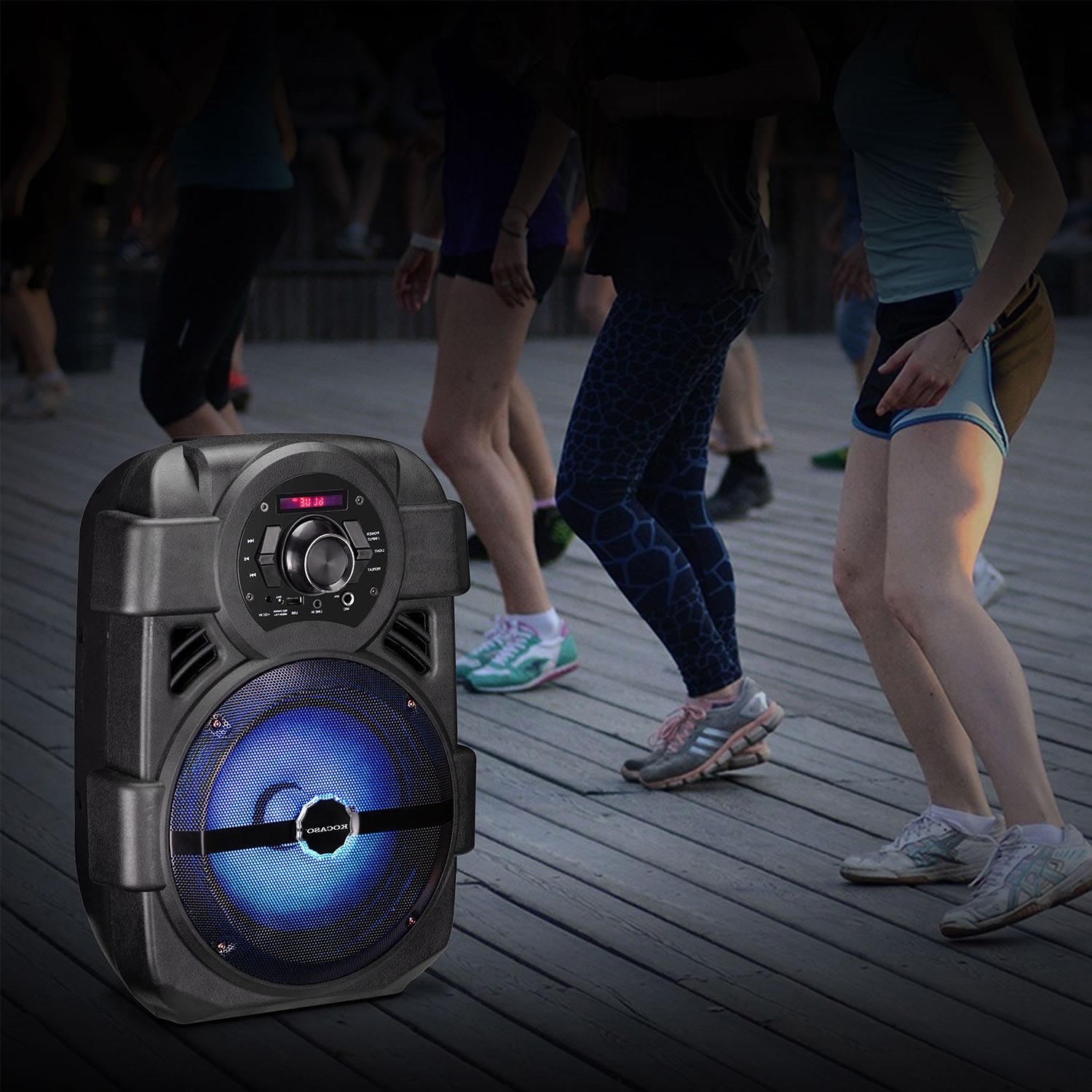 BT Party Speaker Bluetooth Led Portable Stereo Tailgate w/ Mic