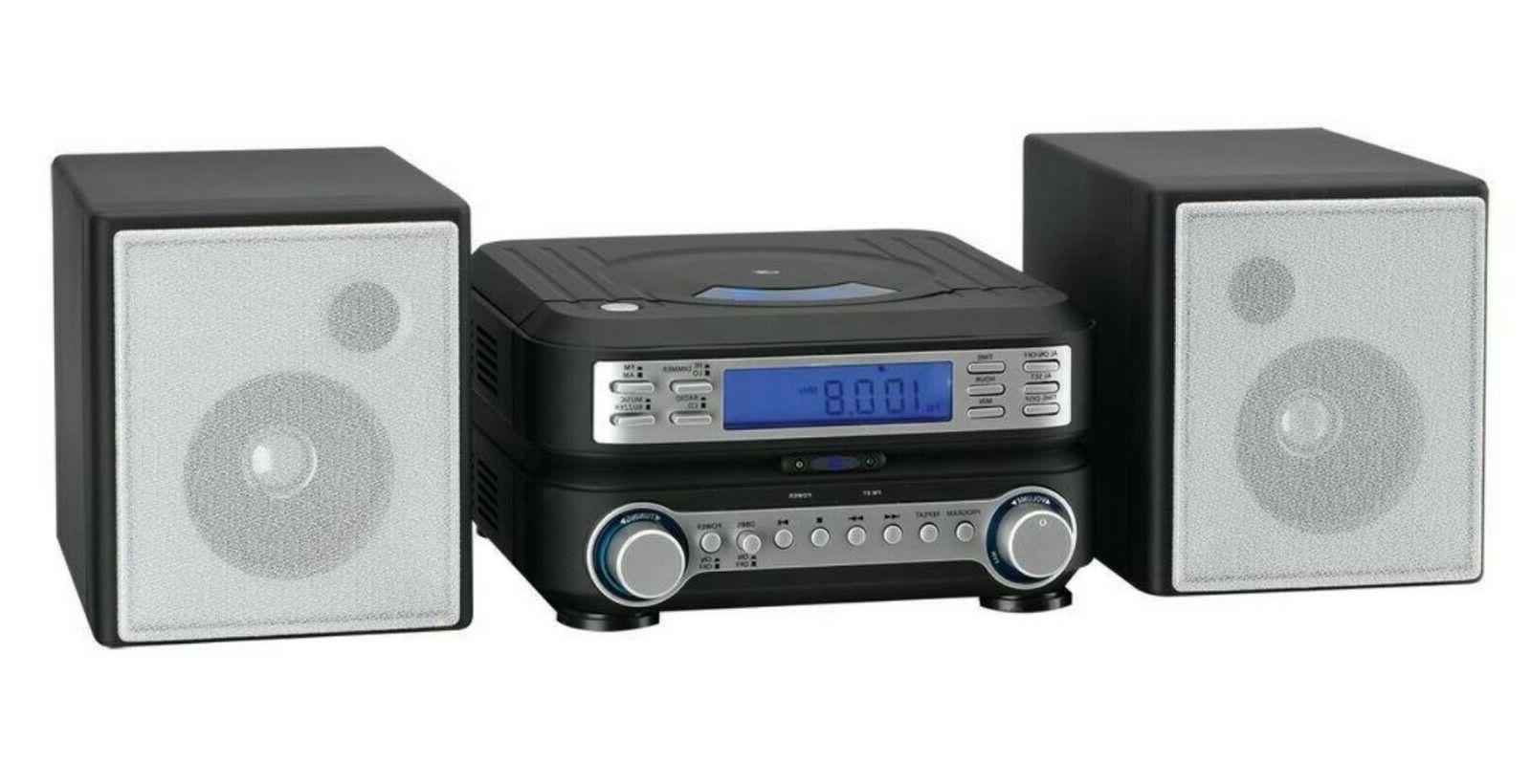 Compact AM Radio CD MP3 Shelf Speakers Aux-In Remote