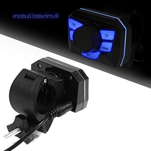 GoldenHawk USA Motorcycle Waterproof Bluetooth Wireless 7/8-1 MP3 Music Player Sound Audio Stereo ATV UTV IN, 2.0, micro SD,
