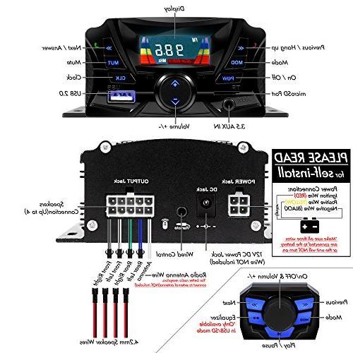 GoldenHawk Motorcycle Waterproof Bluetooth Wireless 7/8-1 MP3 Audio Amplifier System ATV AUX IN, SD, FM
