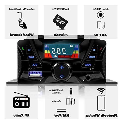 "GoldenHawk USA 3"" Waterproof Wireless Speaker MP3 Music Player Audio Stereo Amplifier System ATV UTV w/3.5mm IN, micro SD,"
