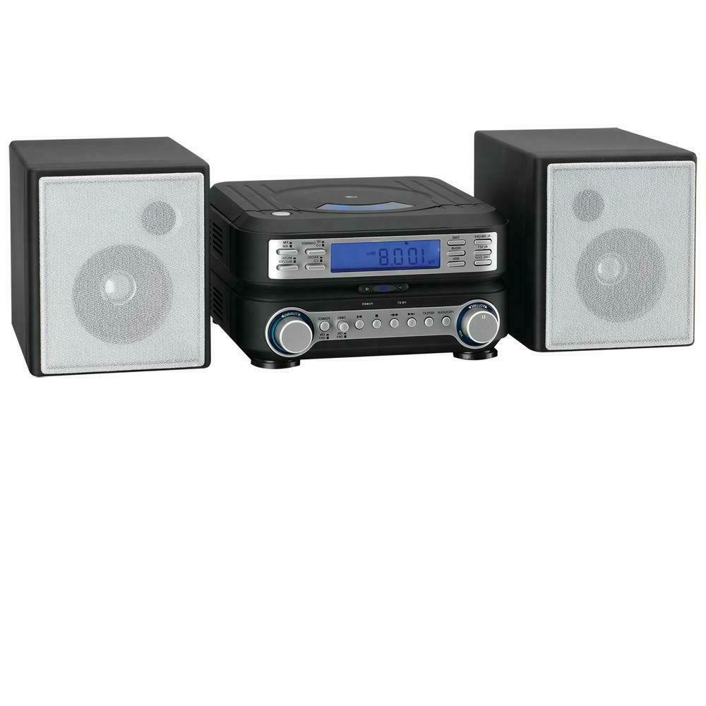 Home Stereo System AM FM Radio CD Player Shelf Speakers Book