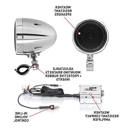 BOSS Audio All-Terrain, Weatherproof And Amplifier Sound Two 3 Inch Speakers, Bluetooth Amplifier, Volume Control, Ideal 12