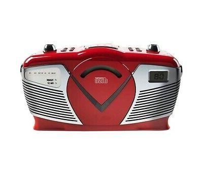 Sylvania Portable CD Boombox with Radio, Style, SRCD212-RED
