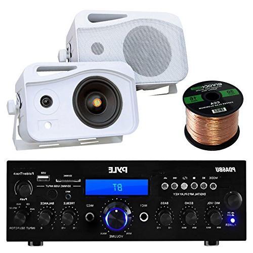 pyle pda6bu amplifier receiver stereo bundle plmr26 500 watt