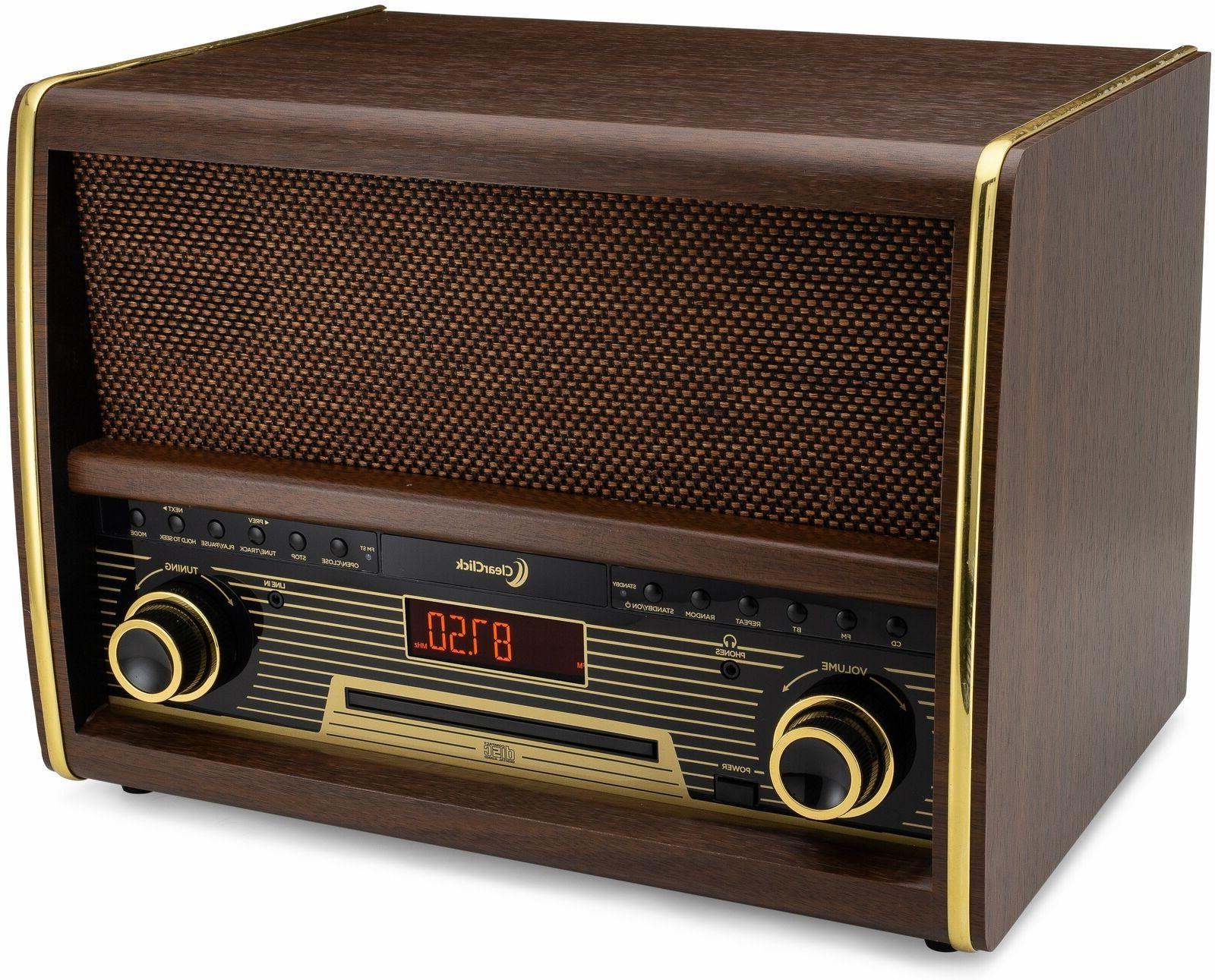 Retro FM Radio CD Player, & Aux-In Classic Vintage System